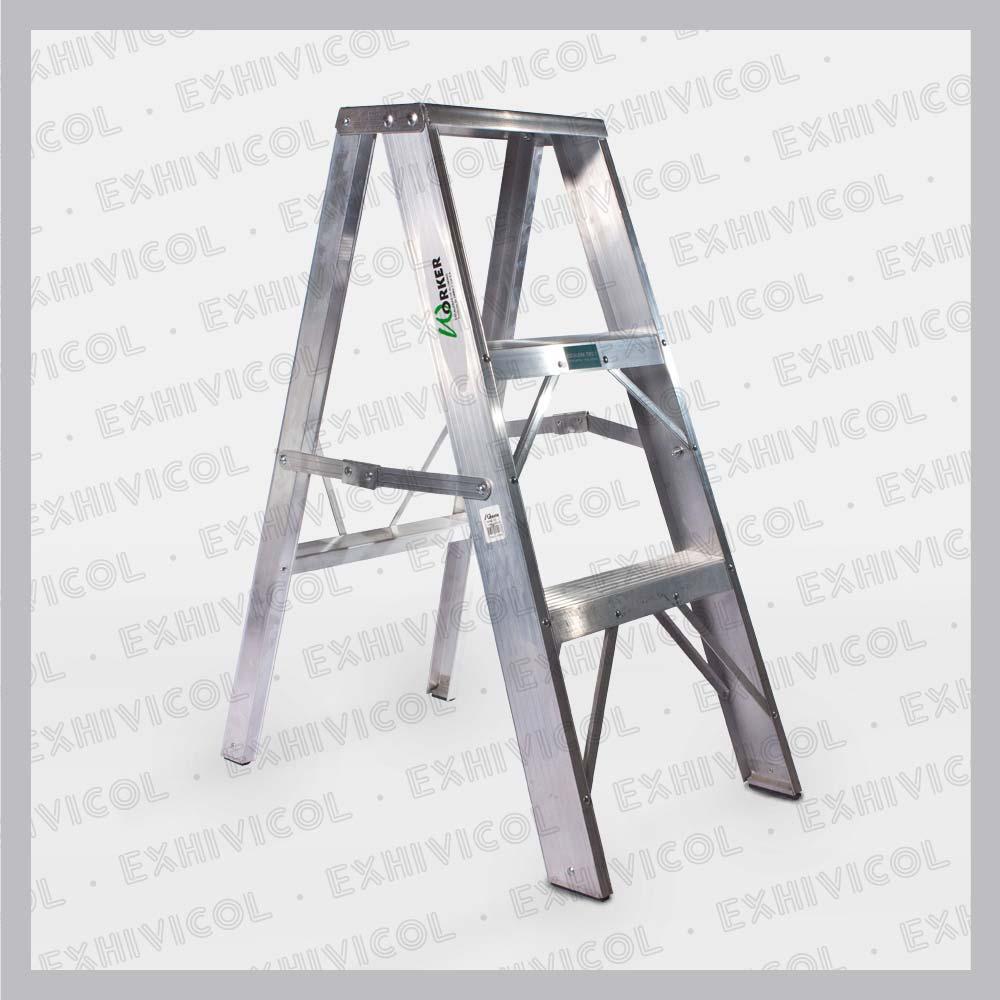 Escalera en aluminio tipo tijera emma 3 pasos exhivicol for Tipos de escaleras de aluminio