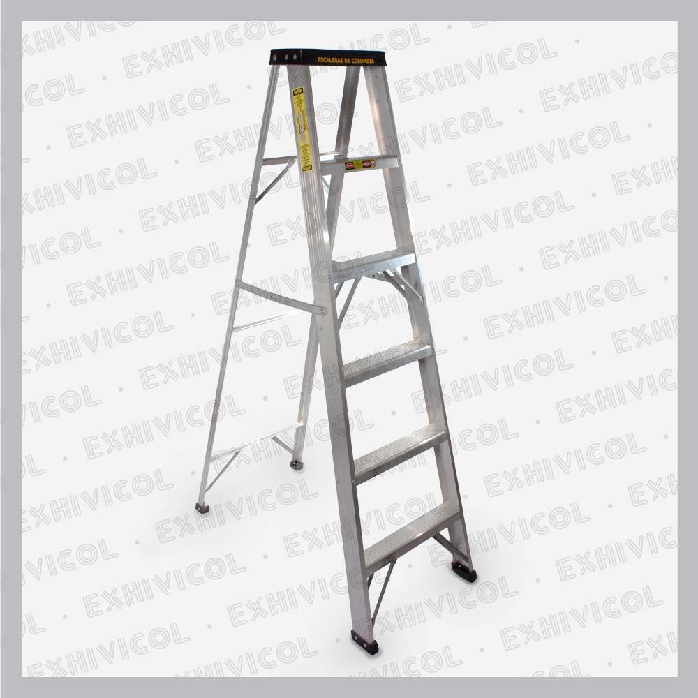 Escalera en aluminio tipo tijera 6 pasos for Escalera telescopica tipo tijera