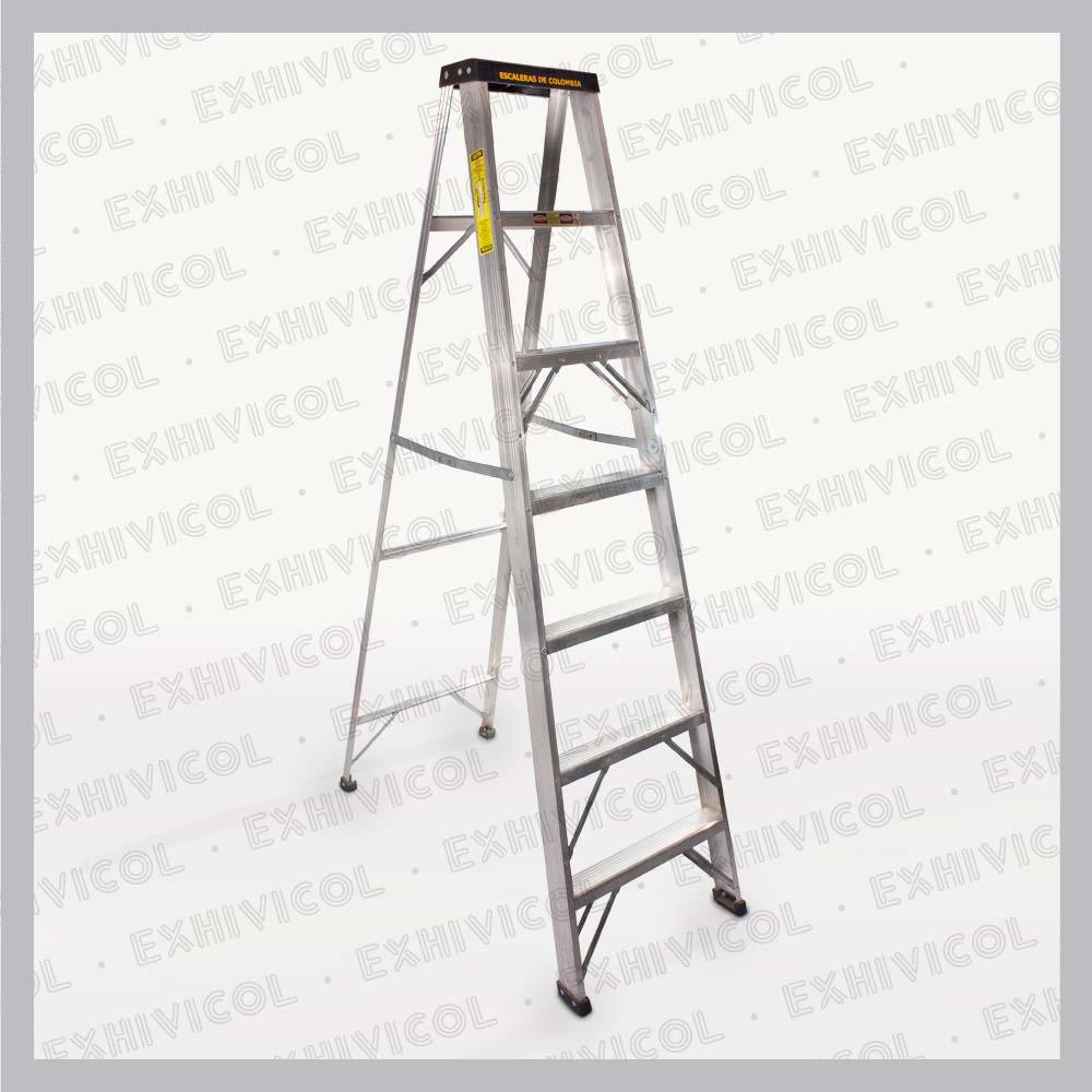Escalera en aluminio tipo tijera 7 pasos for Escalera 8 metros