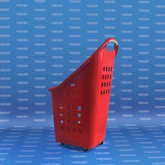 Carro canasta plástico/rodachinas 80