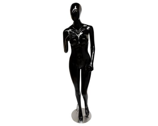 Maniquí androide de color negro elaborado en fibra de vidrio con base en acero