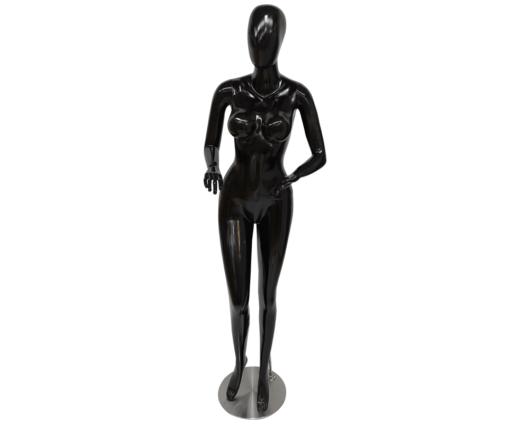 Maniquí androide mujer negro elaborado en fibra de vidrio y base en acero inoxidable de alta calidad y pintura líquida.