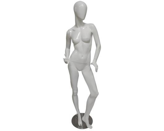Maniquí androide con pose sexy de color blanco