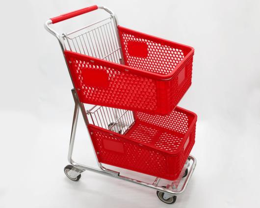 Carro Autoservicio doble canasta tipo pinino rojo