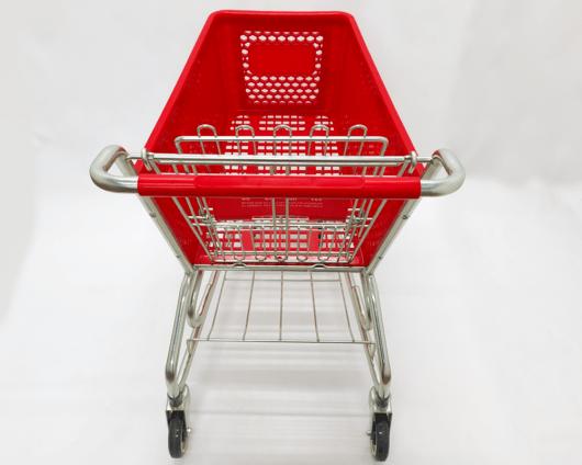Carro Autoservicio con canasta plástica de color rojo y base en alambre de alta calidad